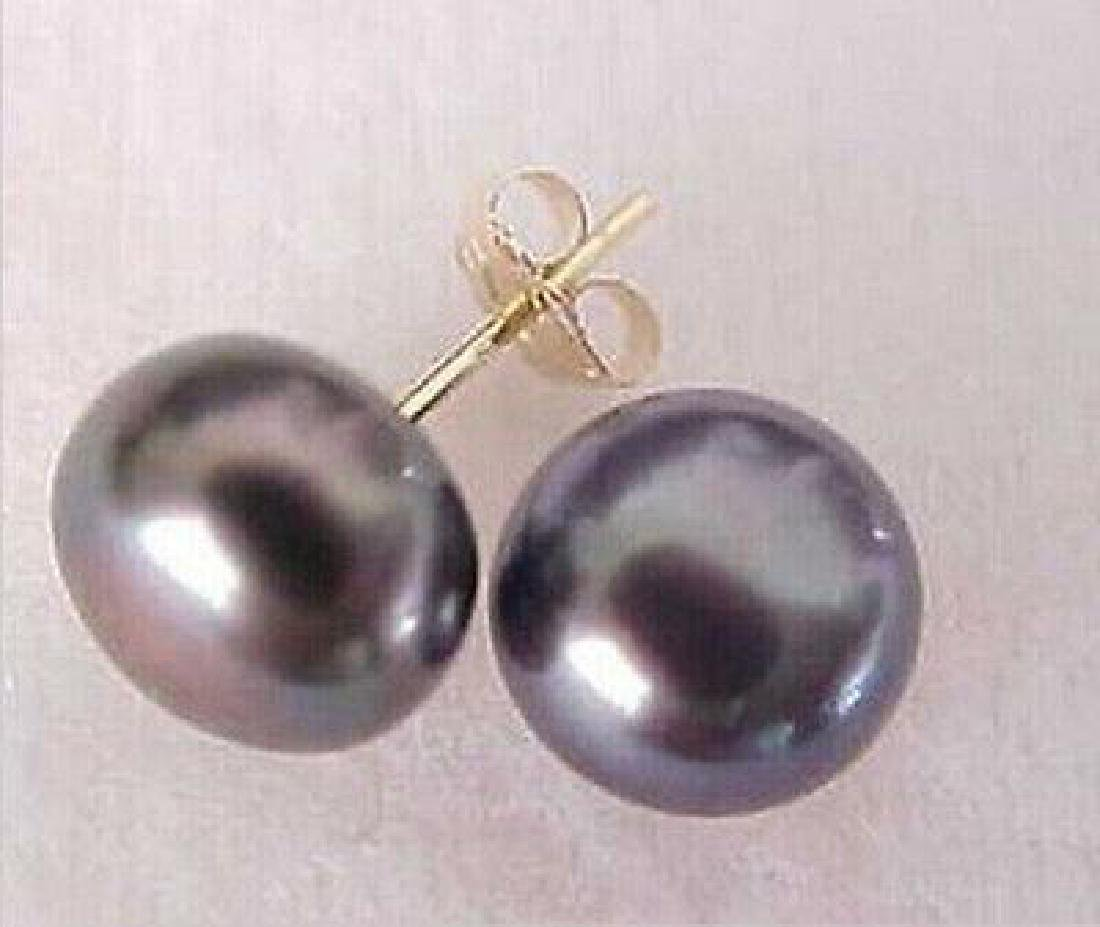 10-11mm Aaa South Sea Black Pearl Stud Earrings 14k