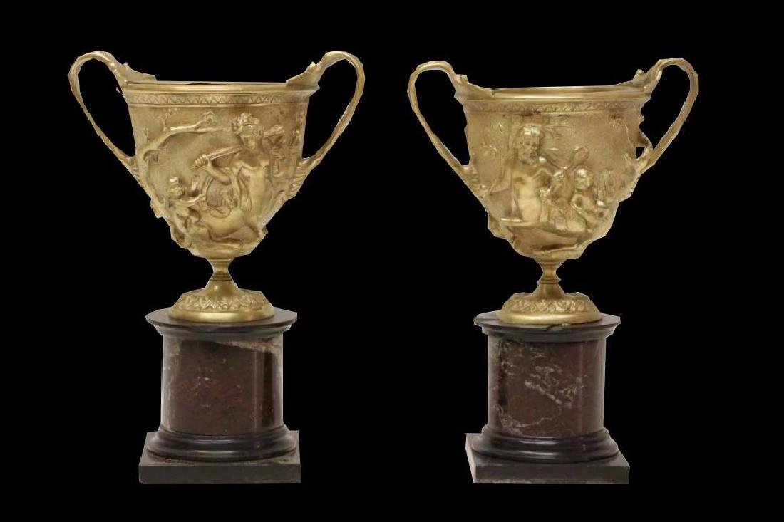 Pair of Gilt Bronze Marble Mounted Cups