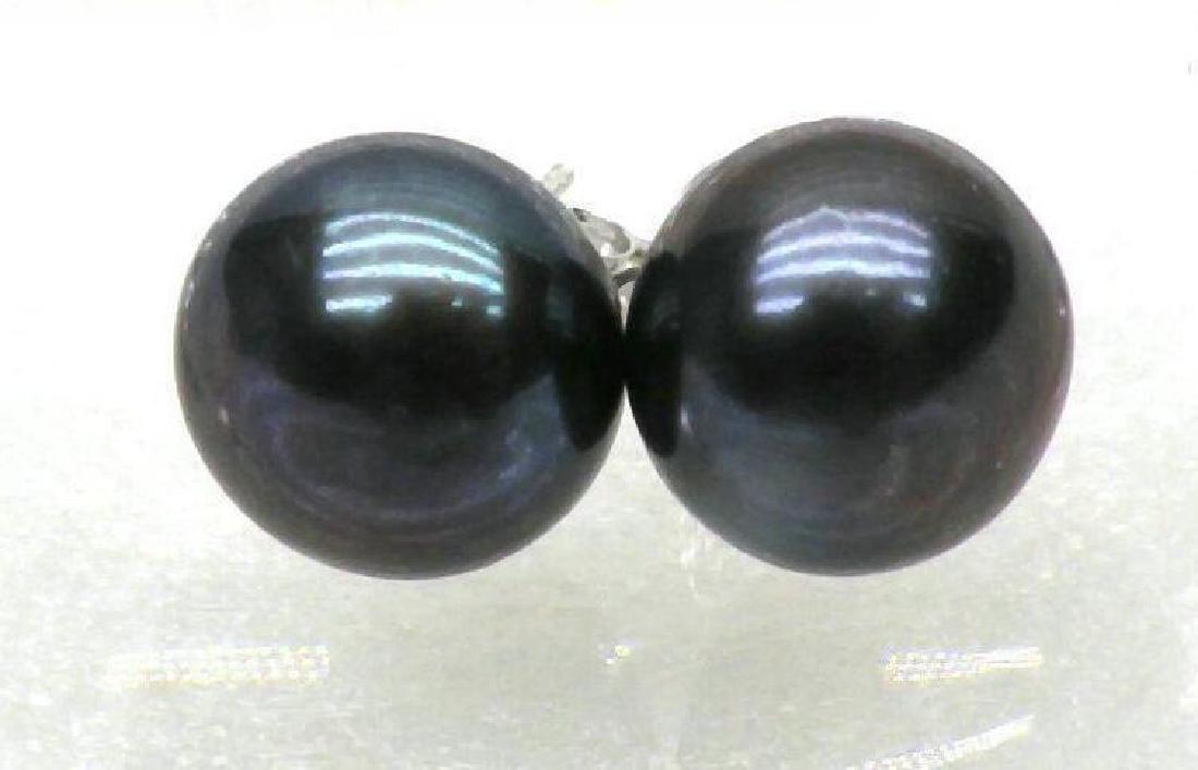 10-11mm Blue Black Aaa +++ South Sea Pearl Earrings 14k - 3