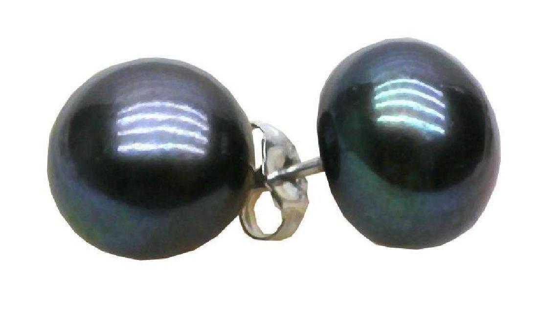 10-11mm Blue Black Aaa +++ South Sea Pearl Earrings 14k - 4