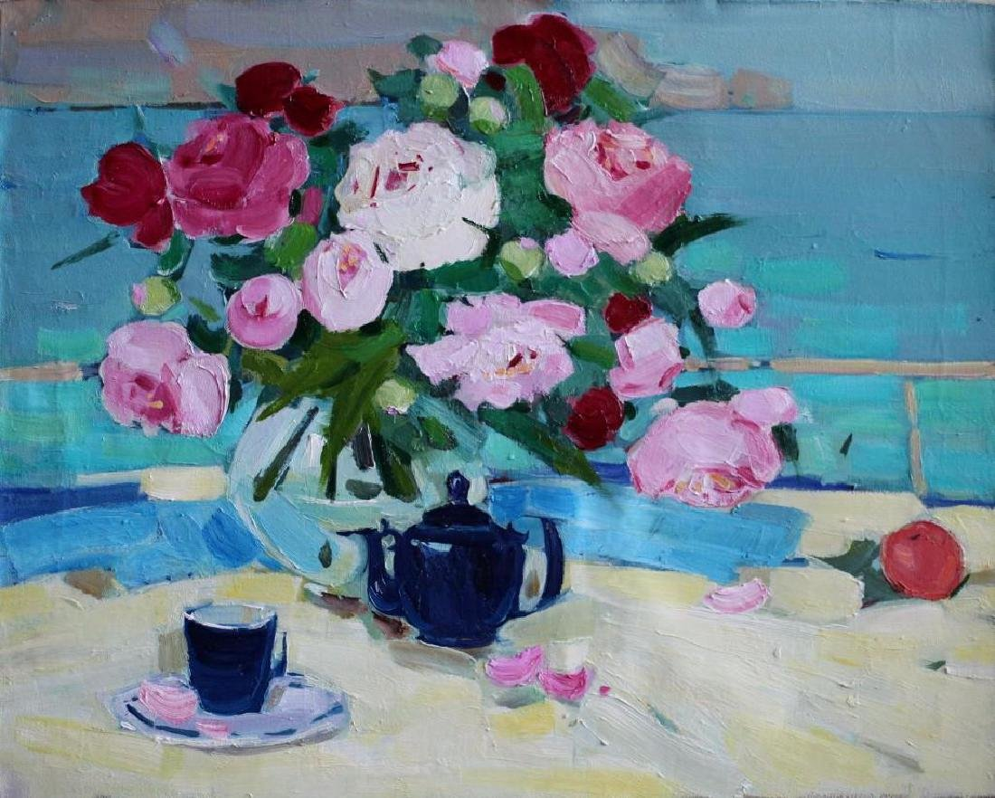 original still life oil painting Spring Flowers peonies