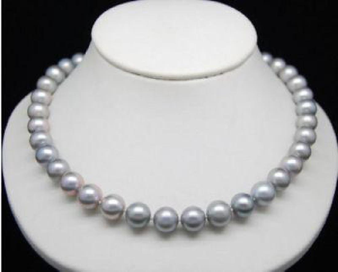 """18""""aaa 9-10mm South Sea Genuine Gray Pearl Necklace 14k"""