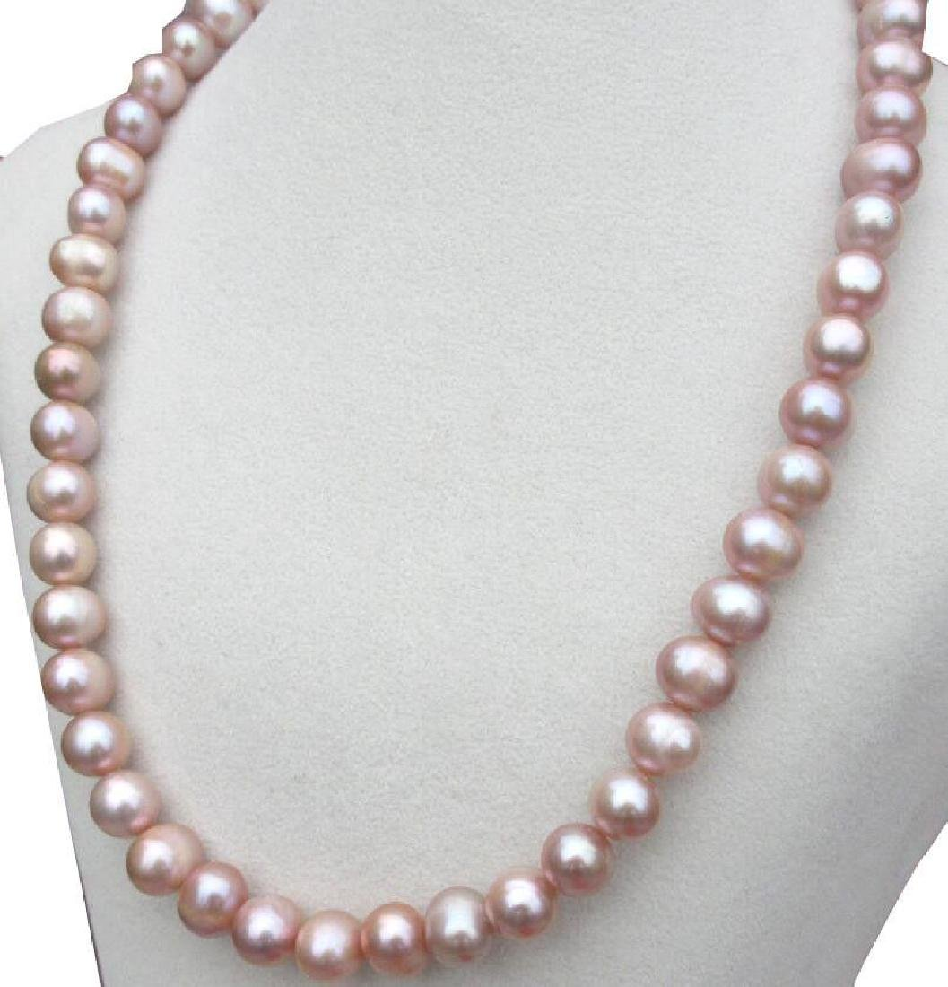 9-10mm Natural South Sea Lavender Pearl Necklace 18