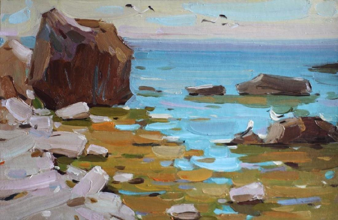 SUNNY SEASCAPE realism ORIGINAL OIL PAINTING colorful