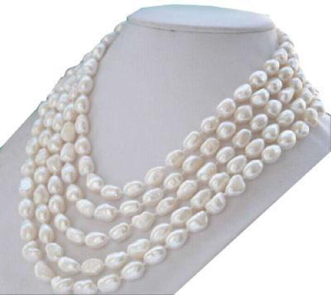 12x10mm South Sea White Baroque Pearl Necklace 80 Inch