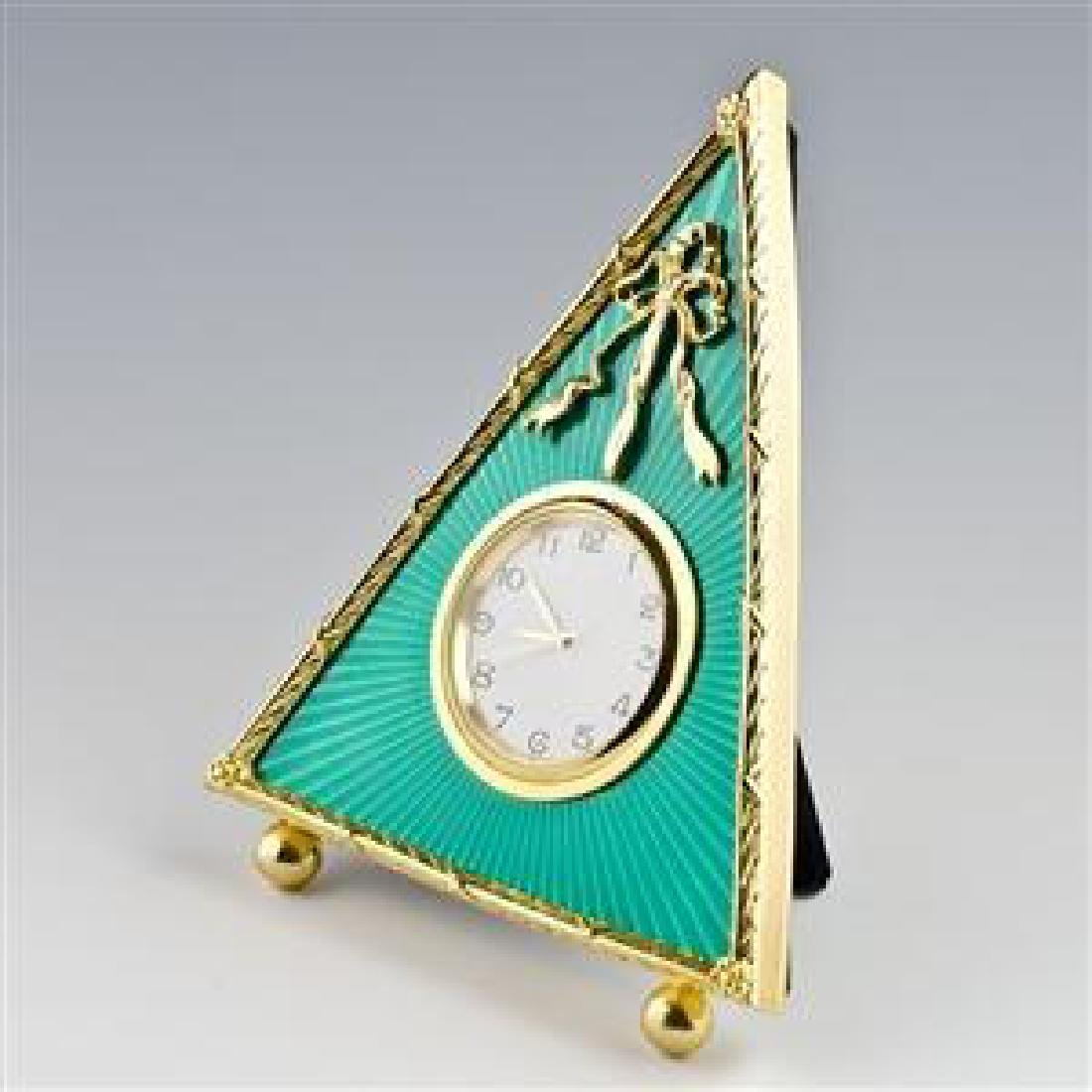 """5"""" Green Triangle Enameled Guilloche Russian Antique"""