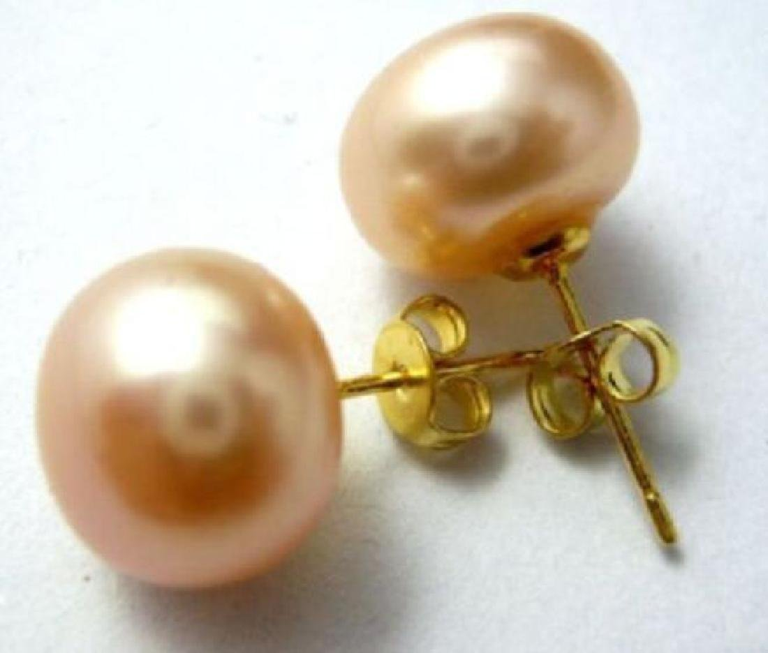 Natural South Sea 13-12mm Pink Pearl Earring 14k Yellow - 3