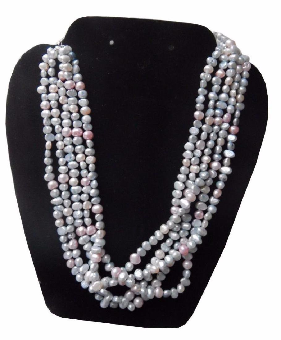 Fabulous, Multi Strand White Rice Pearl Choker /