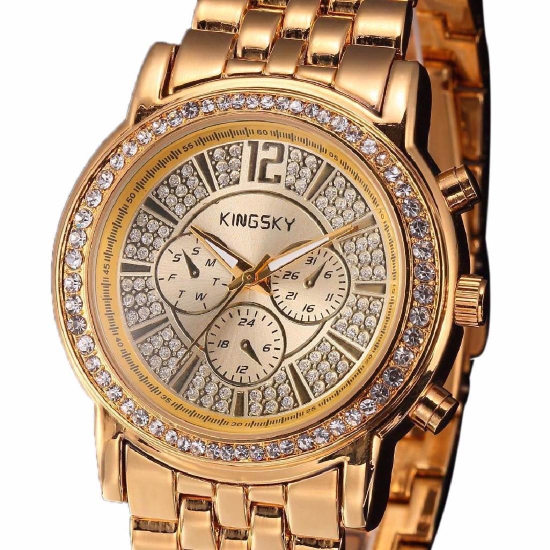 Lady's Gold & Crystal Quartz Bracelet Watch