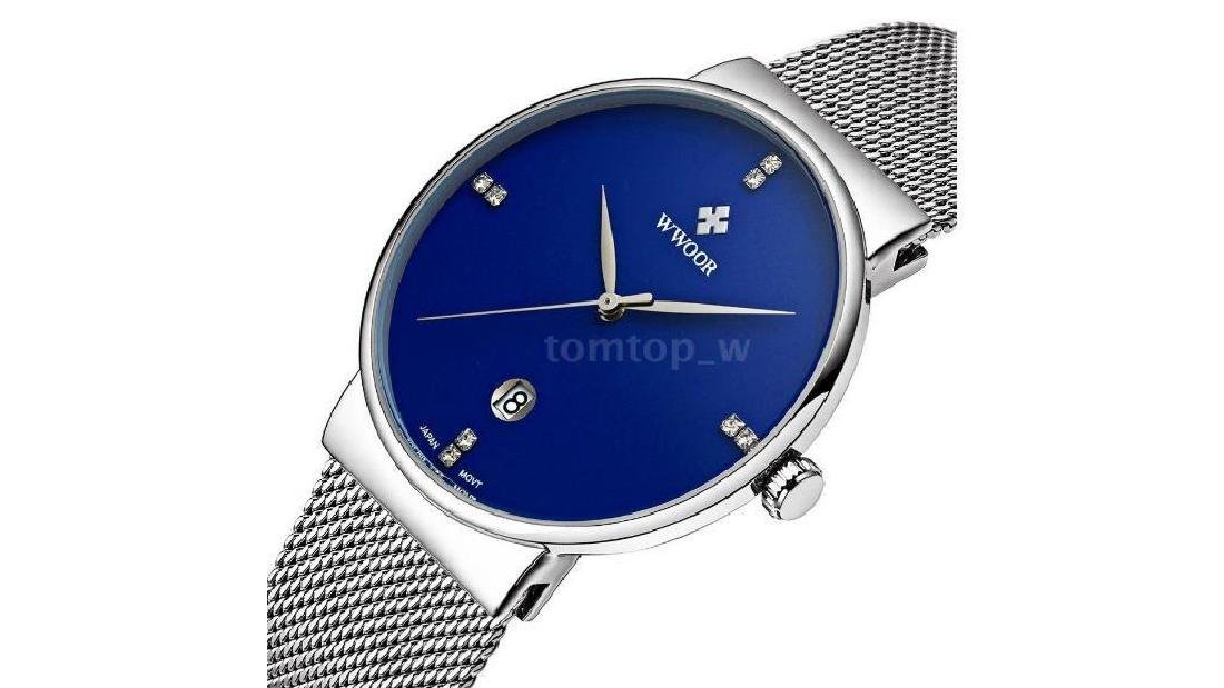 Men's Stainless Steel Band Mesh Date Analog Quartz