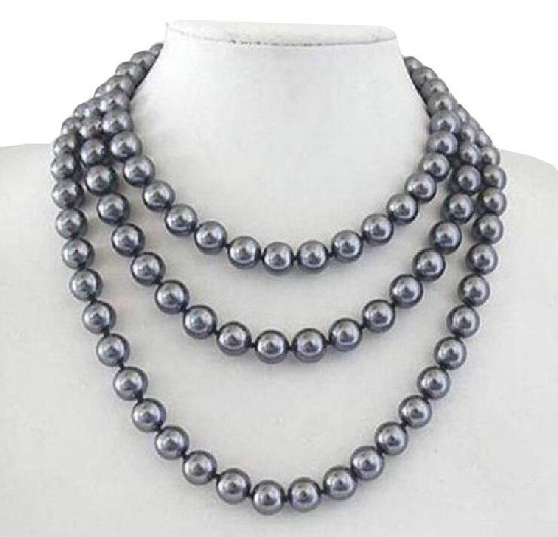 8mm Aaa + South Sea Dark Gray Shell Pearl Necklace