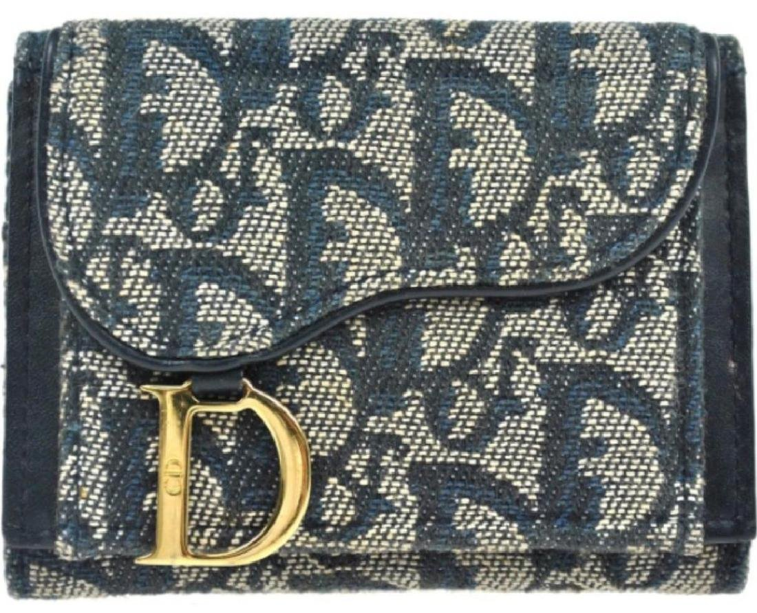Authentic Christian Dior Navy Logo Bi-fold Wallet