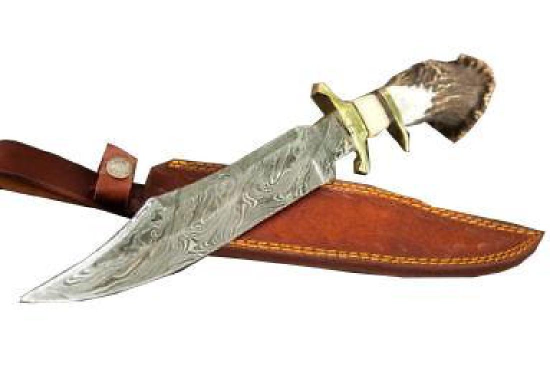 "15"" Inch Hand Made Damascus Steel Hunting Bowie Knife"