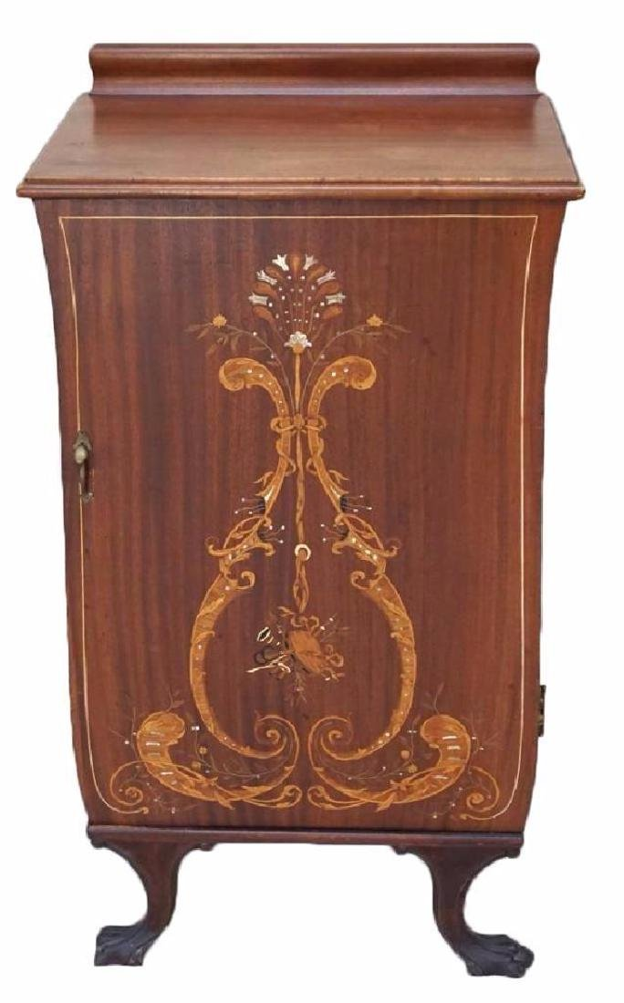 19thc Marquetry Inlaid Music Cabinet