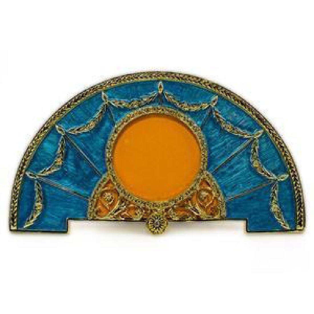 Aqua Enameled Semicircular Russian Royal Picture Frame