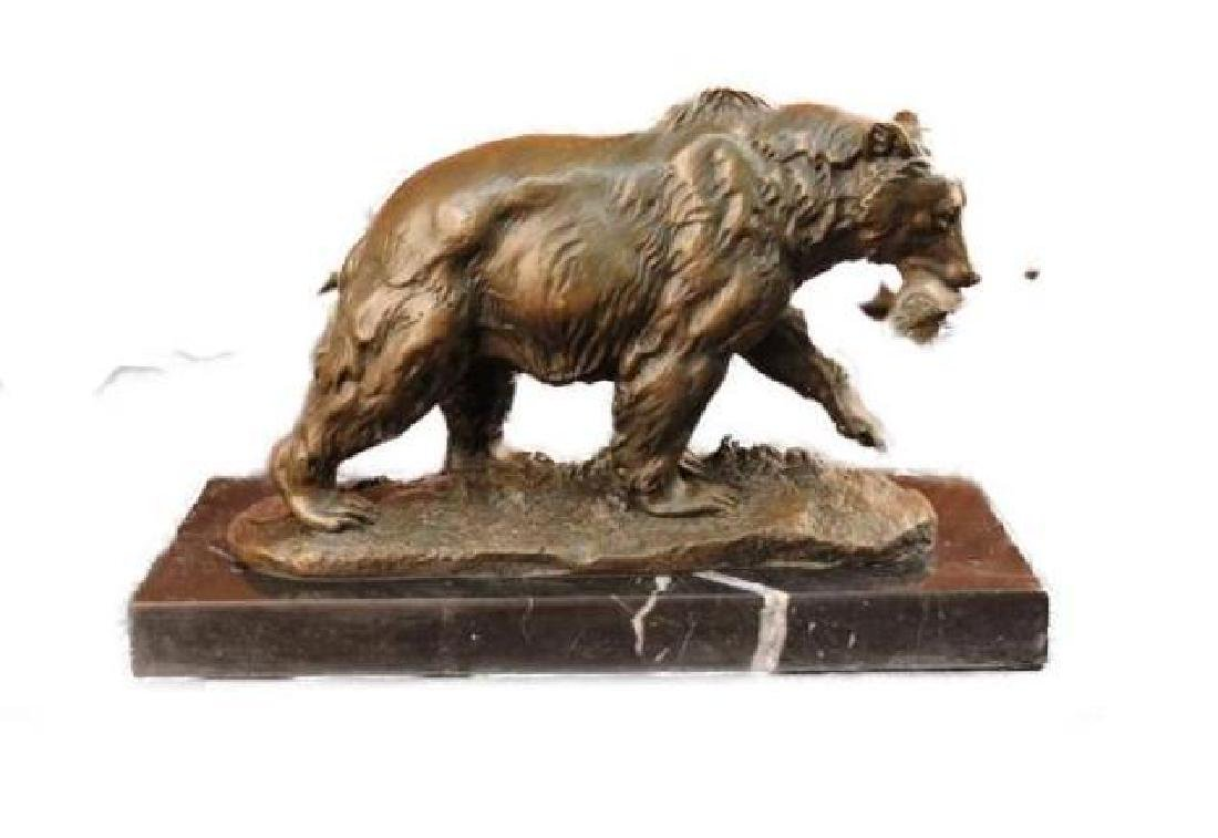 Bronze Grizzly Bear Hunting Fish River Sculpture Art