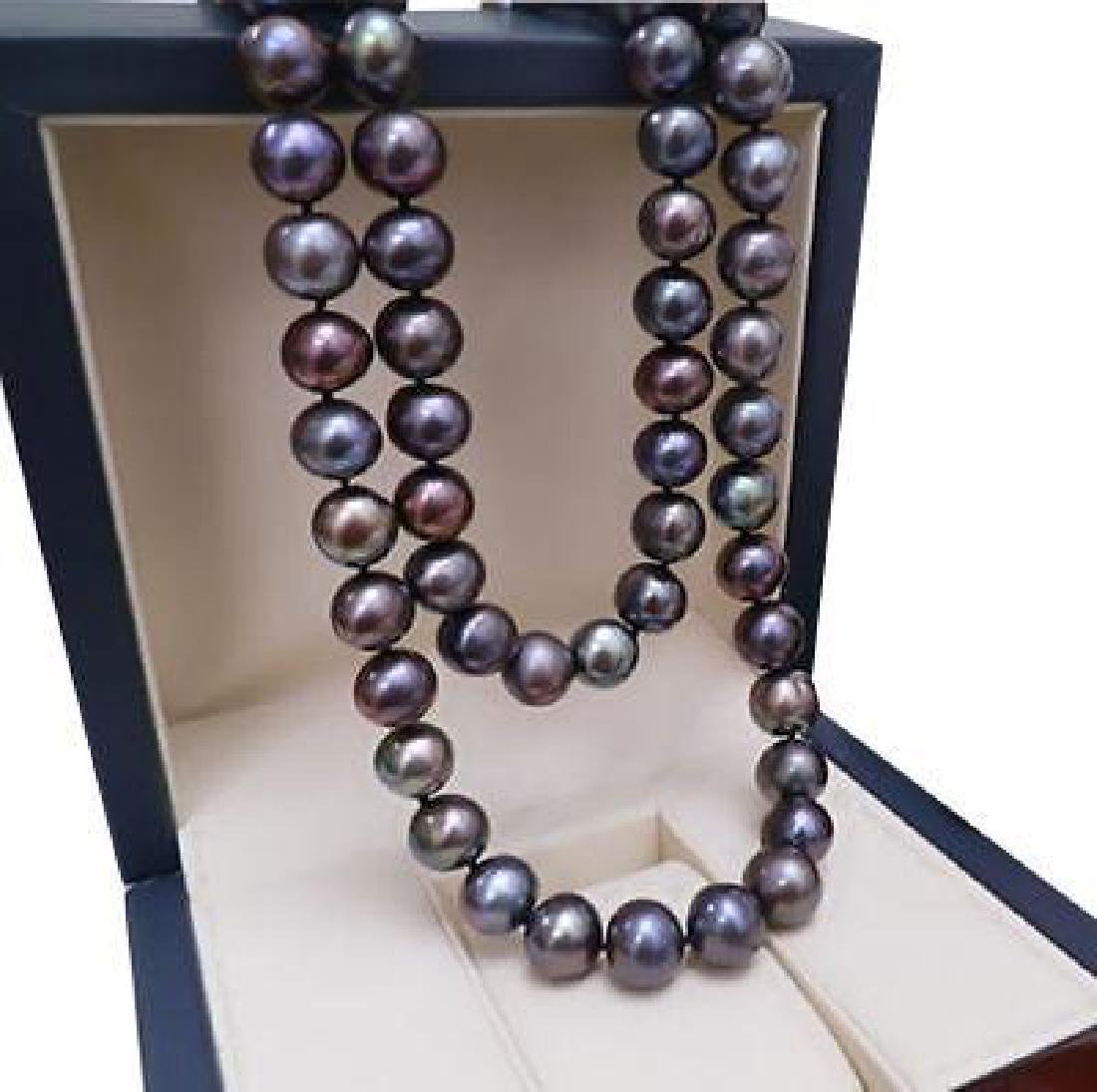9-10mm Natural Tahitian Black Pearl Necklace 18nch