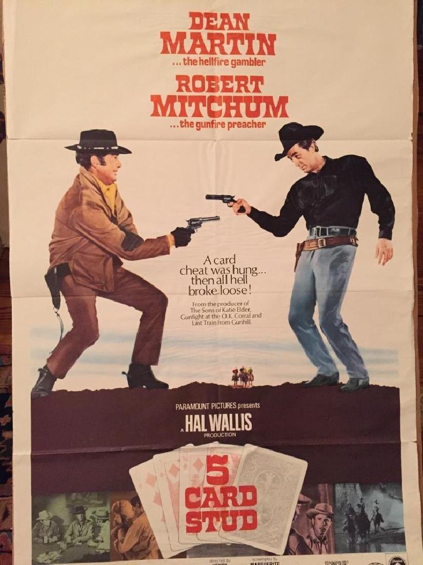 Original 1968 Western Movie Poster, 5 Card Stud