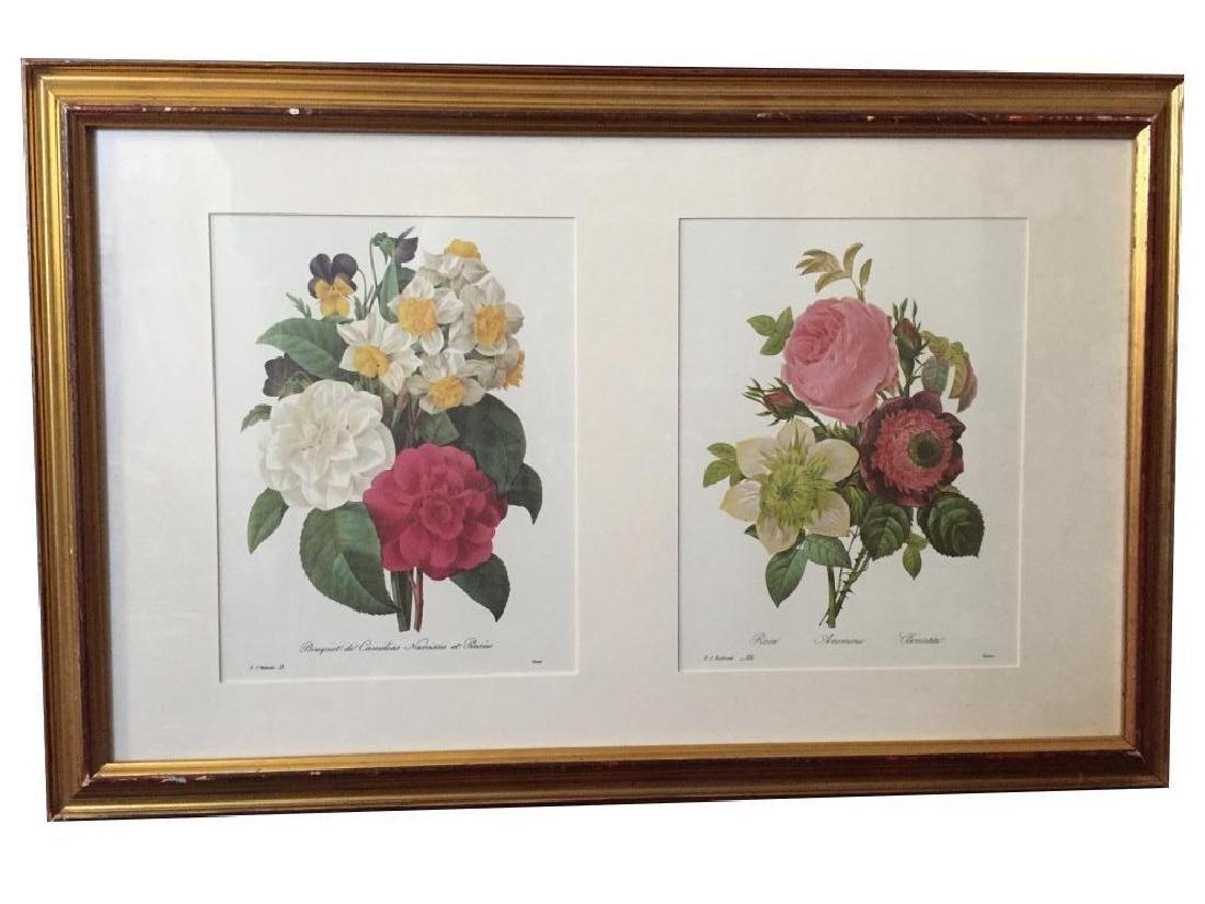 Grouping of 5 Vintage Framed Floral Prints