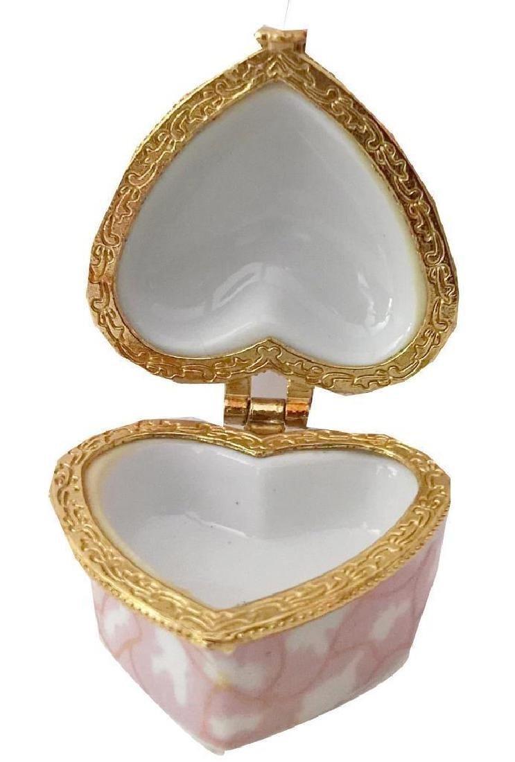 Heart-shaped Pink Porcelain Jewel Trinket Box - 4