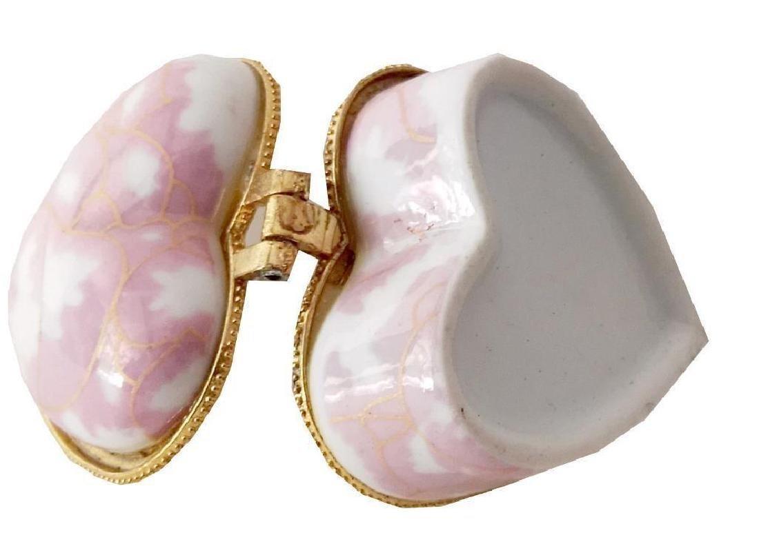 Heart-shaped Pink Porcelain Jewel Trinket Box - 5