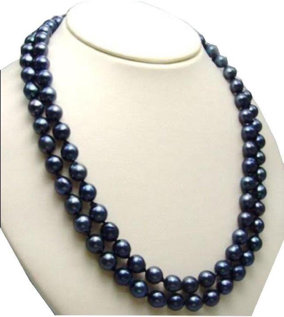 9-10mm Aaa Tahitian Black Pearl Necklace 35""