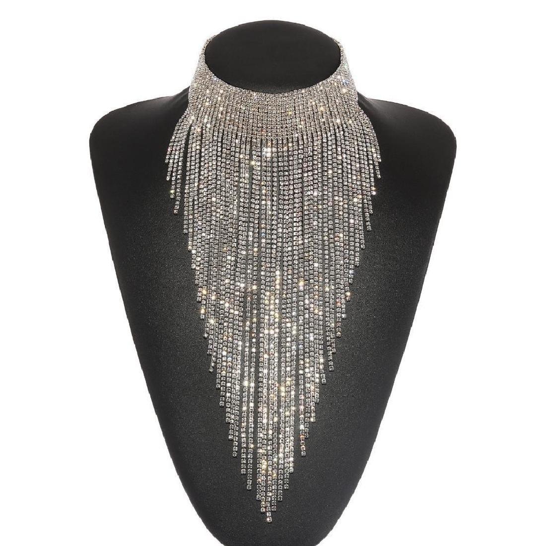 Holylove Charm Rhinestone Tassels Choker Collar Pendant