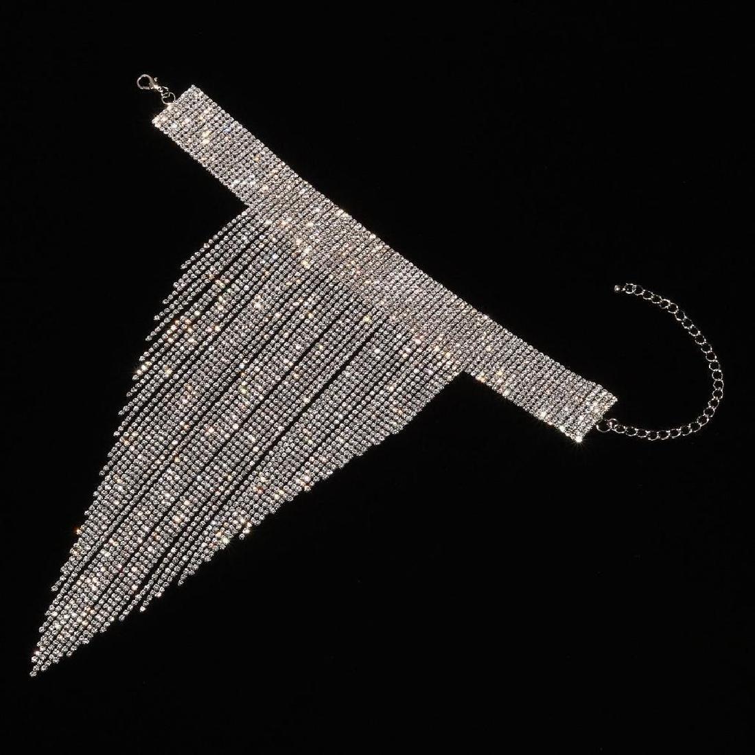 Holylove Charm Rhinestone Tassels Choker Collar Pendant - 2