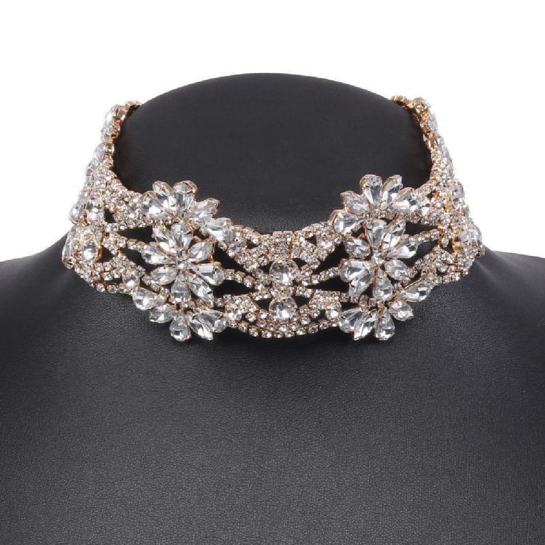 Holylove Rhinestone Crystal Charm Wide Collar Bib