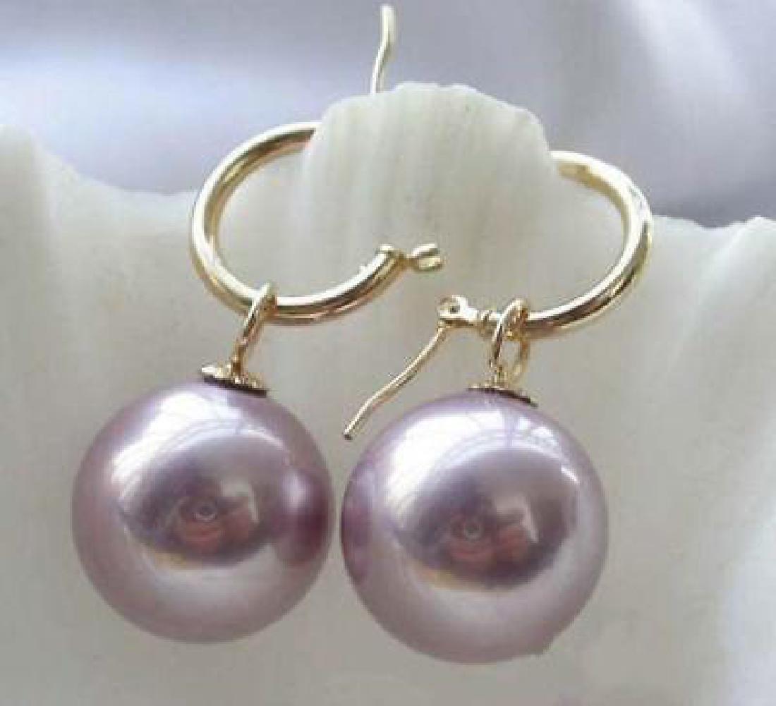 Huge Aaa++ 12.5-13mm White South Sea Pearl Earrings 14k - 2