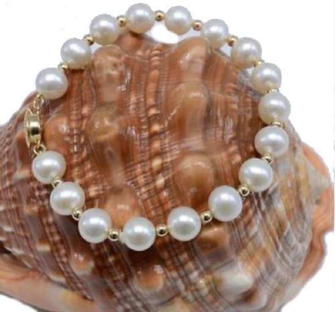 "7.5""-8"" Natural 8-9mm South Sea White Pearl Bracelet"