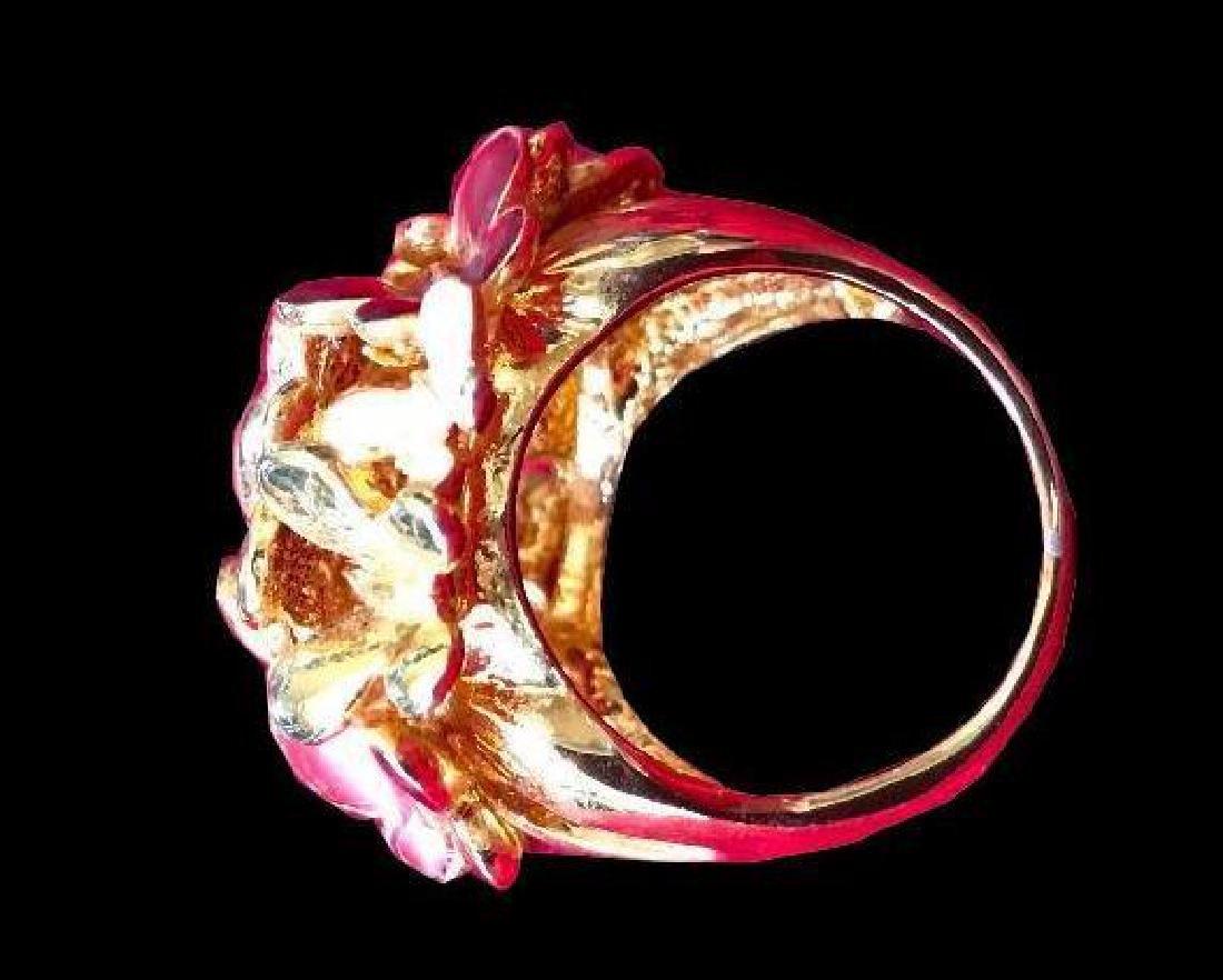 Enamel Gold Butterfly Kaleidoscope Ring - 2