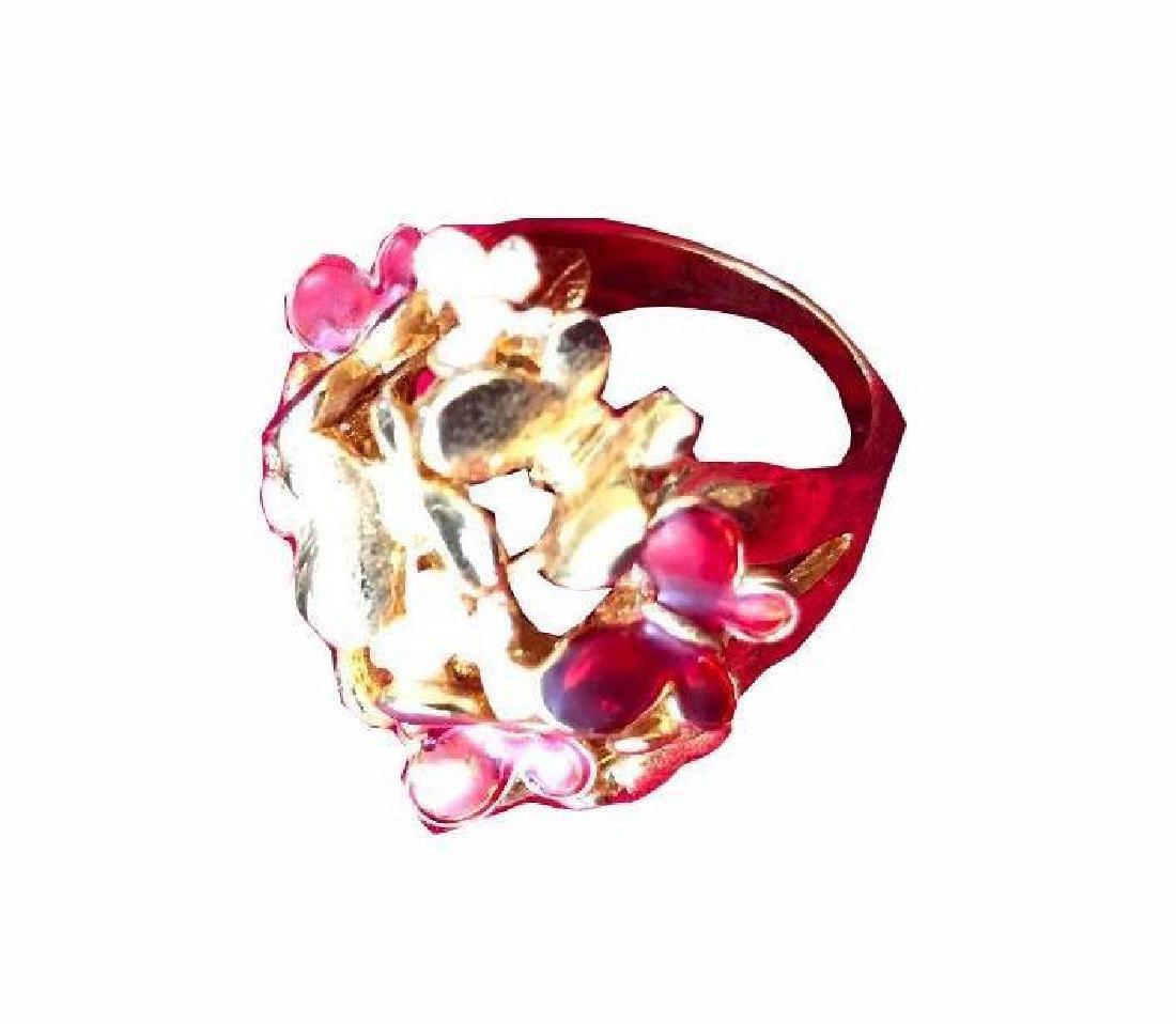 Enamel Gold Butterfly Kaleidoscope Ring - 3