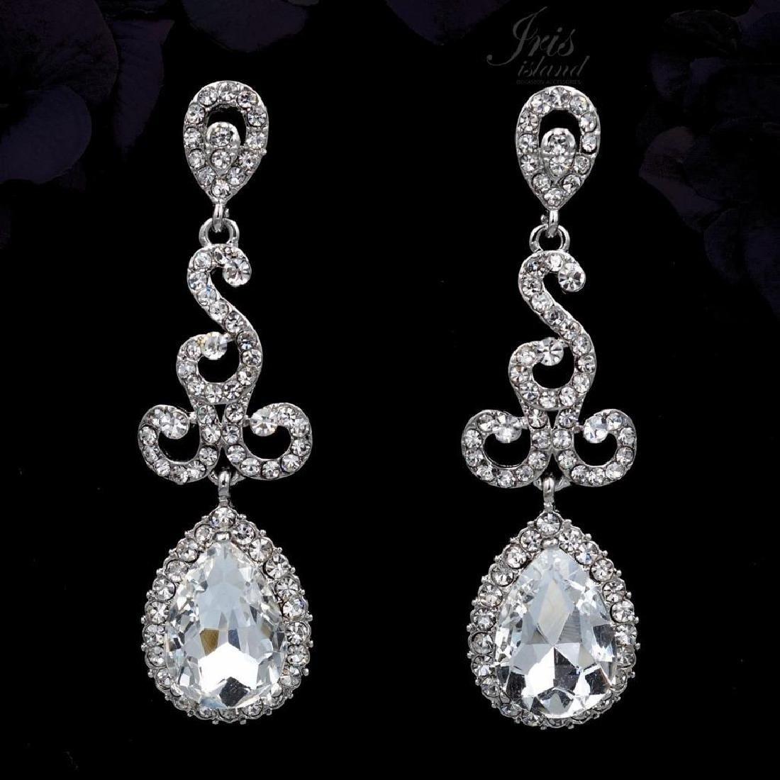 Rhodium Plated Clear Crystal Rhinestone Drop Dangle