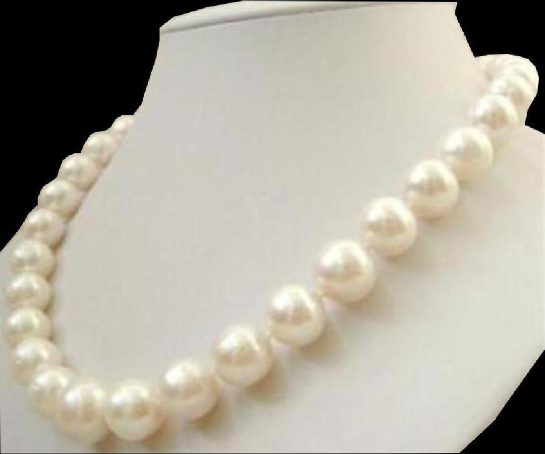 Huge Aa++ 11-12mm White South Sea Pearl Necklace 18inch