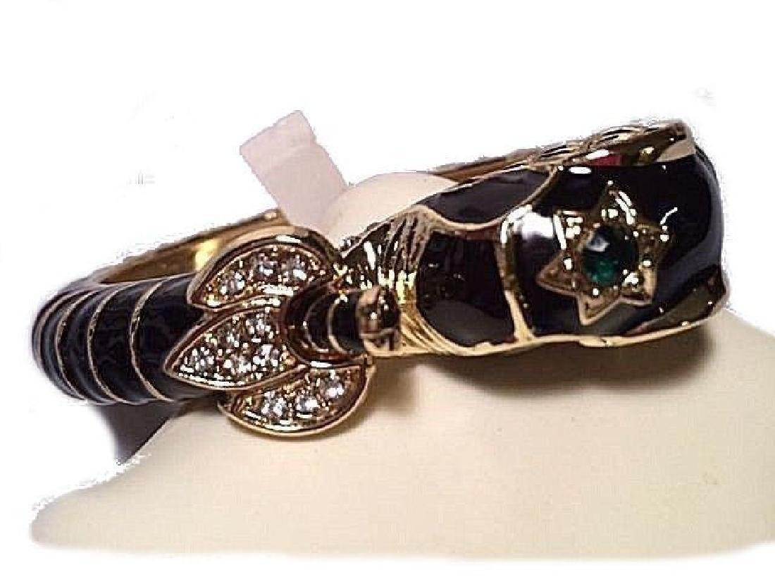 Black Elephant Bangle Bracelet Gold Emerald Green - 3