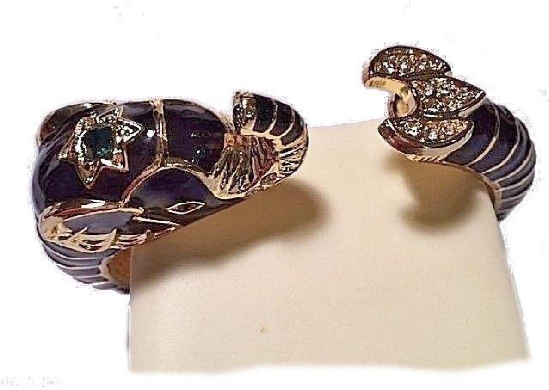 Black Elephant Bangle Bracelet Gold Emerald Green - 4