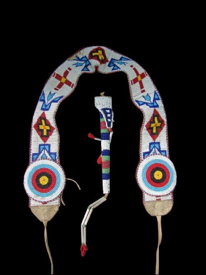 Vintage Native American Beaded Belt & Awl Bag