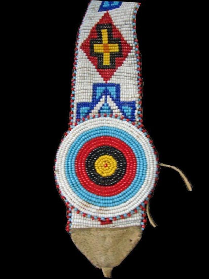 Vintage Native American Beaded Belt & Awl Bag - 2
