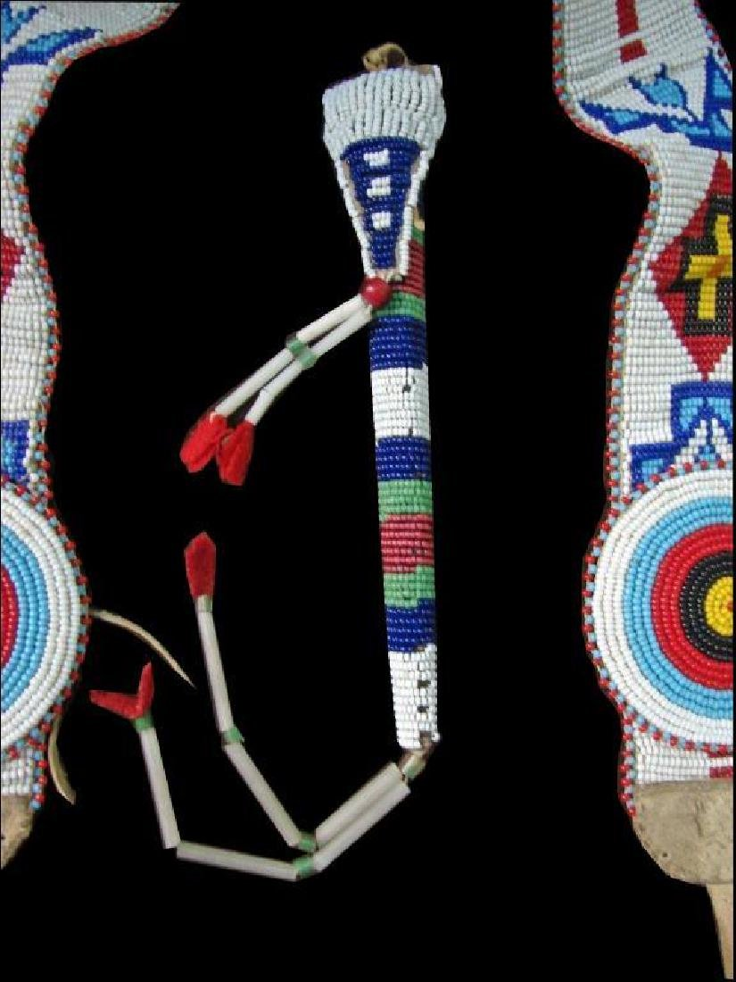 Vintage Native American Beaded Belt & Awl Bag - 3