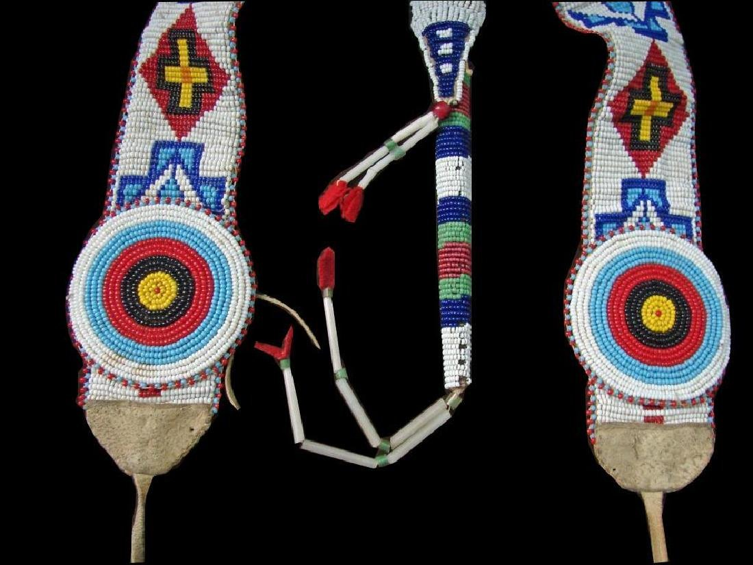 Vintage Native American Beaded Belt & Awl Bag - 4