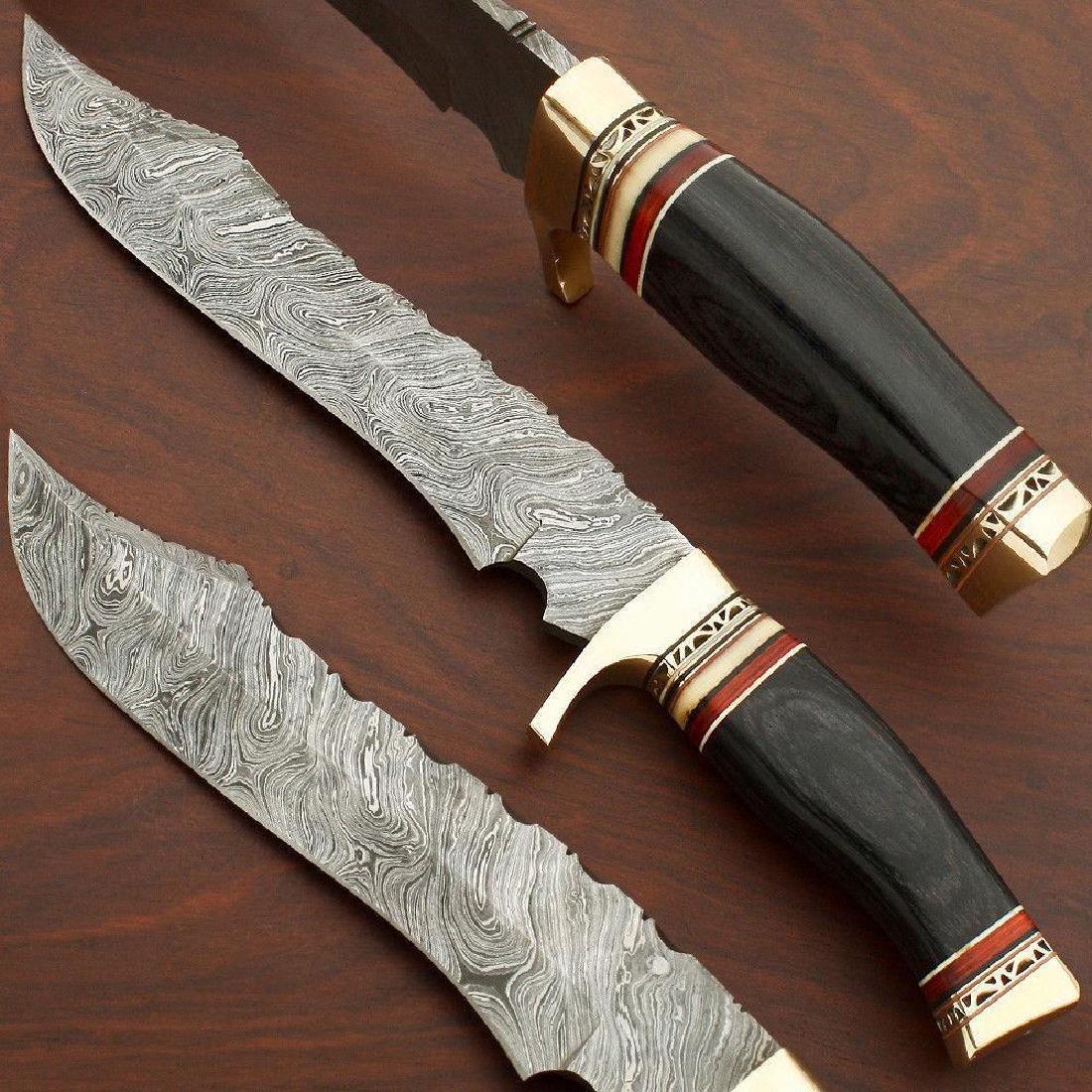 Custom Hand Made Damascus Steel Hunting Bowie Knife