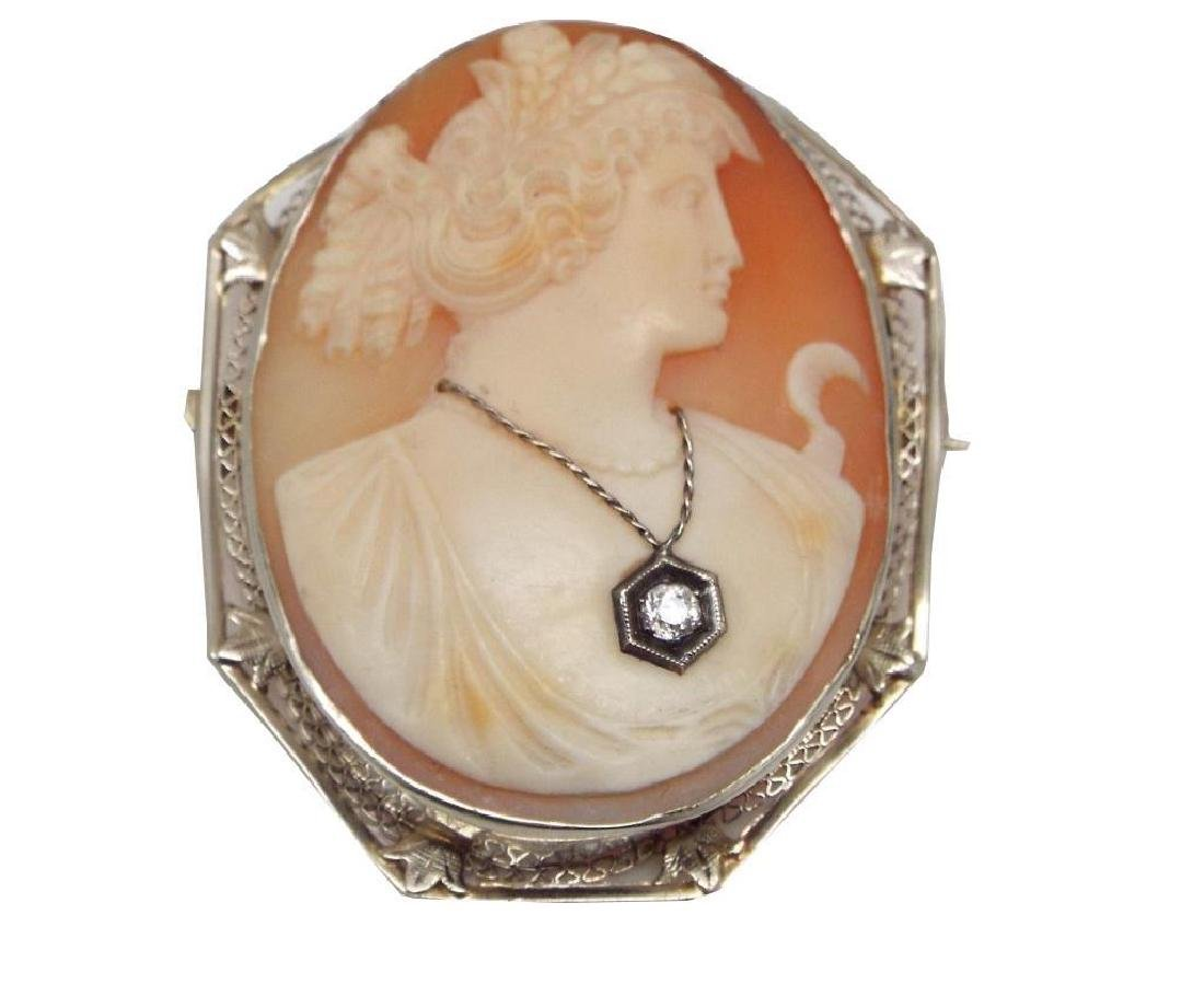 Antique 14kt White Gold Victorian Cameo Brooch - 2