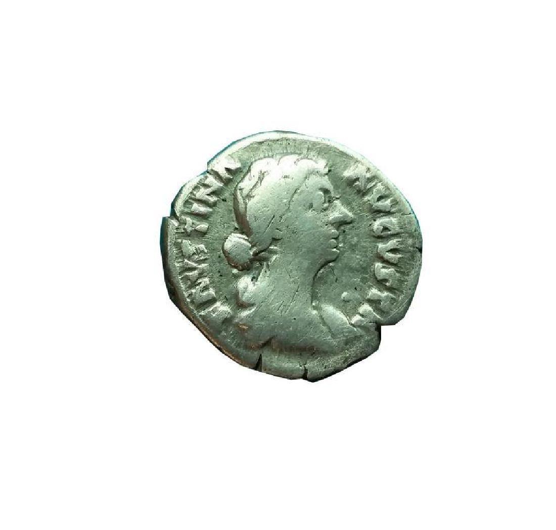 Ancient Roman Silver Coin Denarius Faustina Ii,