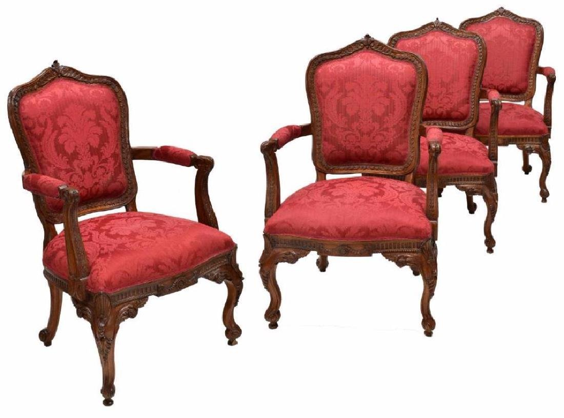 (4) Louis Xv Style Carved Back Arm Chairs - 2