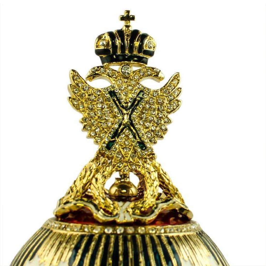 "8.5"" Imperial Eagle Faberge Inspired Russian Egg - 3"