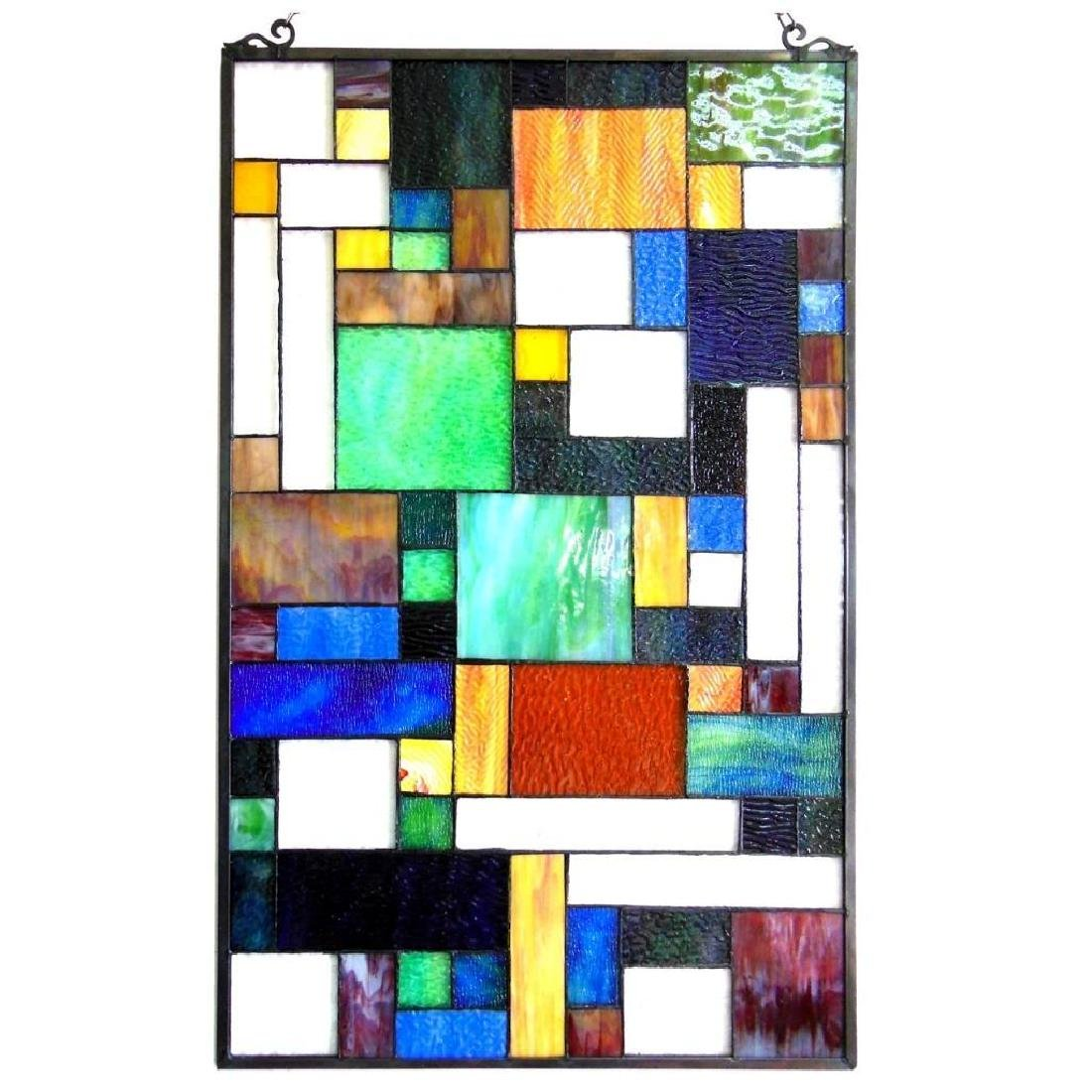 Art Deco Tiffany-style art Glass Hanging Window Panel - 2