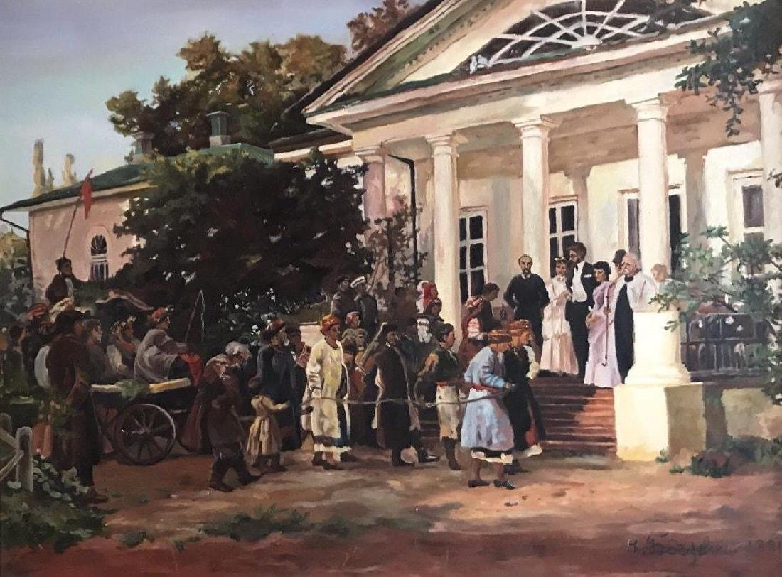 Large late 20thc Russian School, Wedding Party Oil - 2