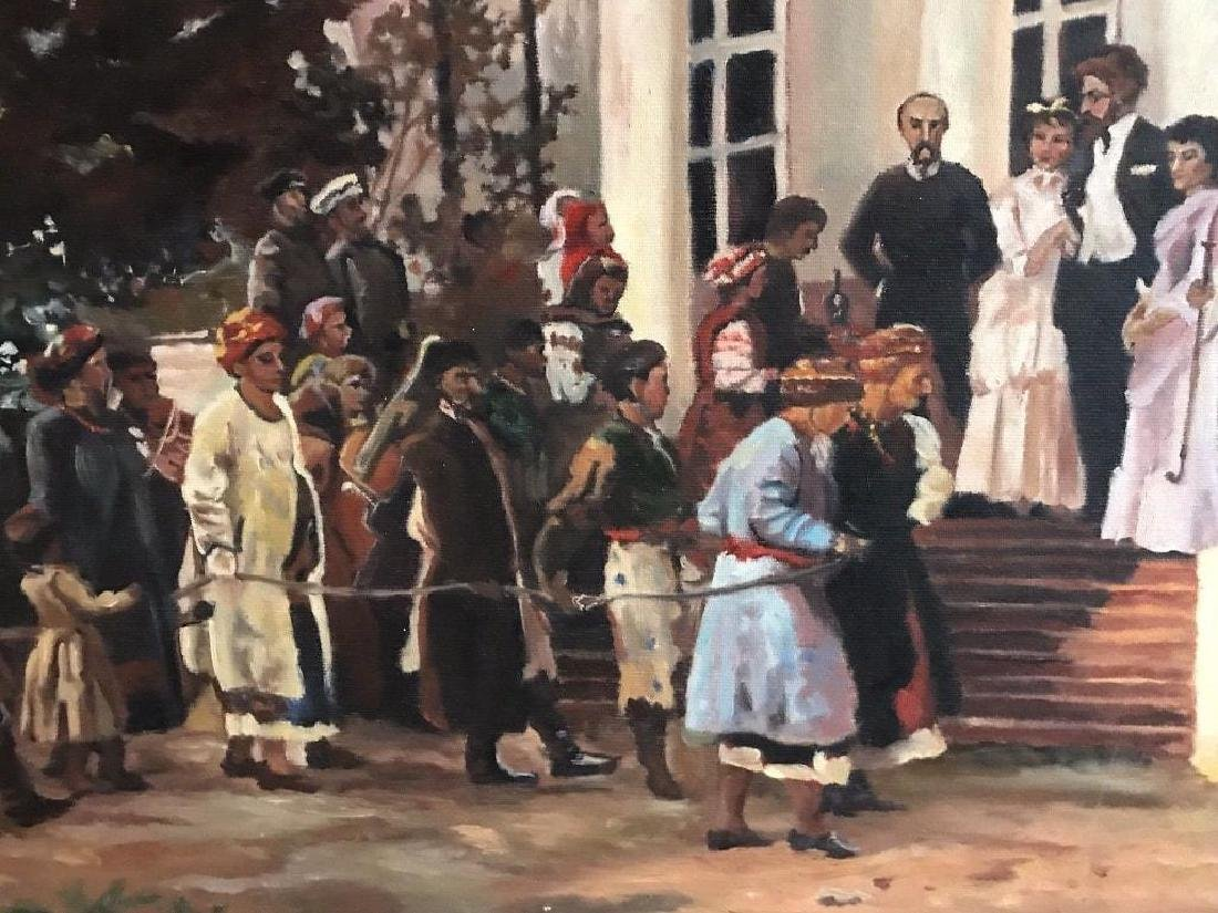 Large late 20thc Russian School, Wedding Party Oil - 4