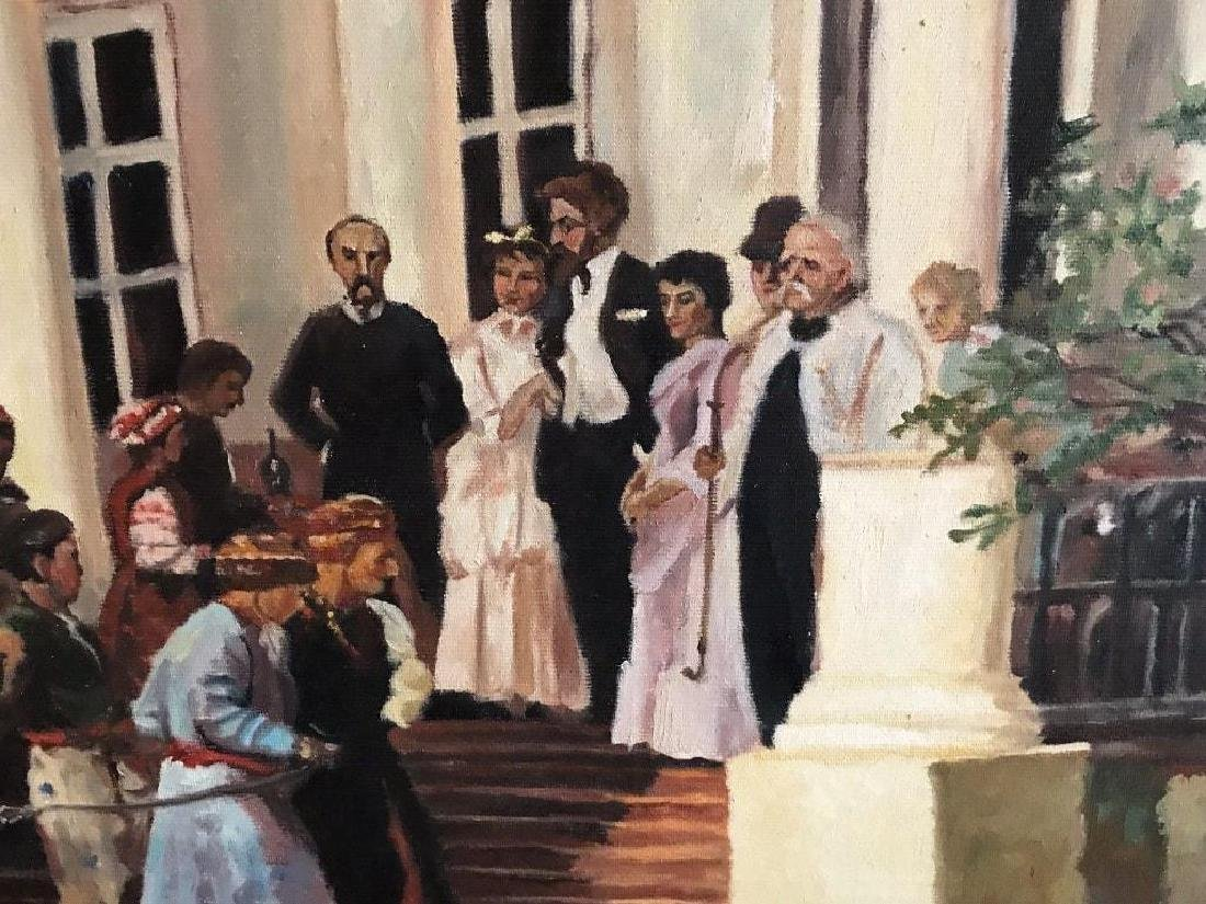 Large late 20thc Russian School, Wedding Party Oil - 5